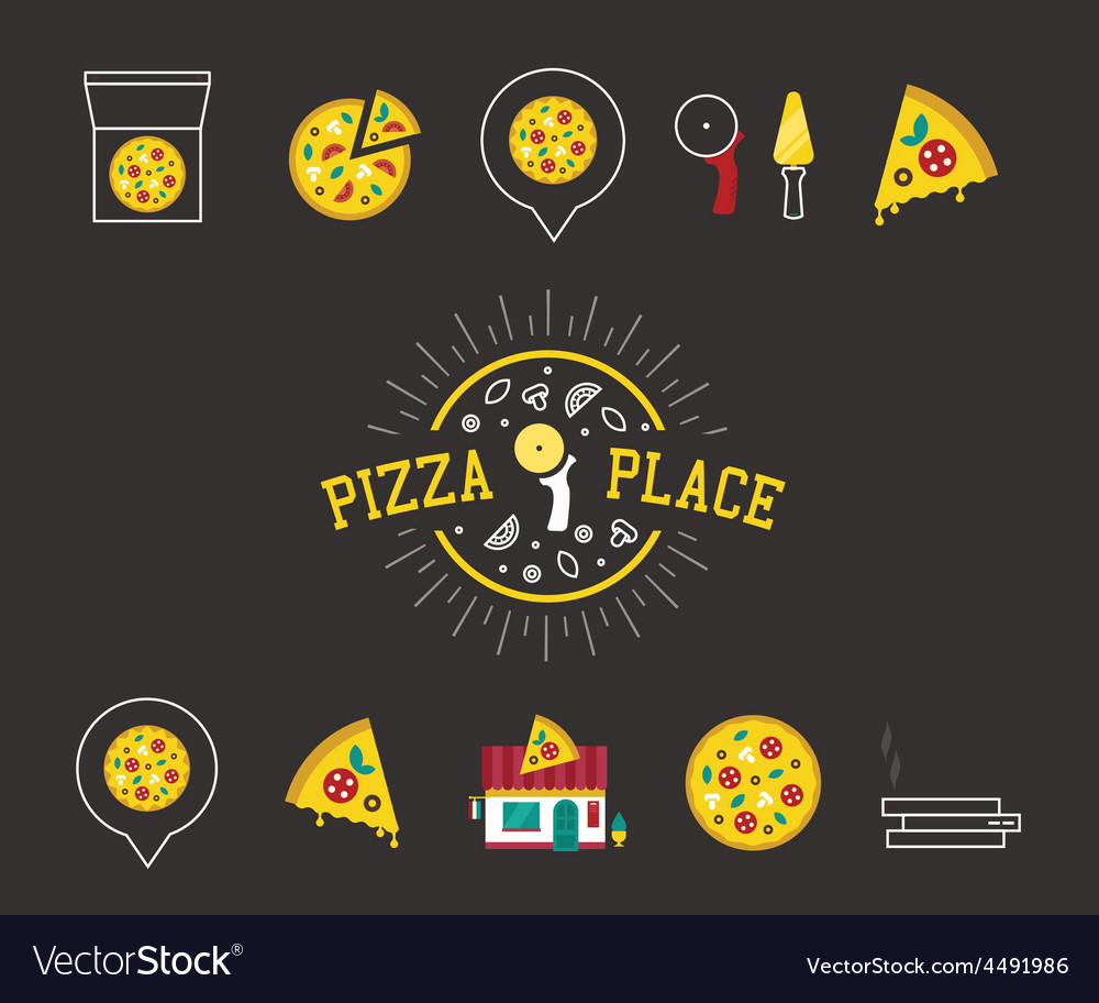 Pizza icons vector