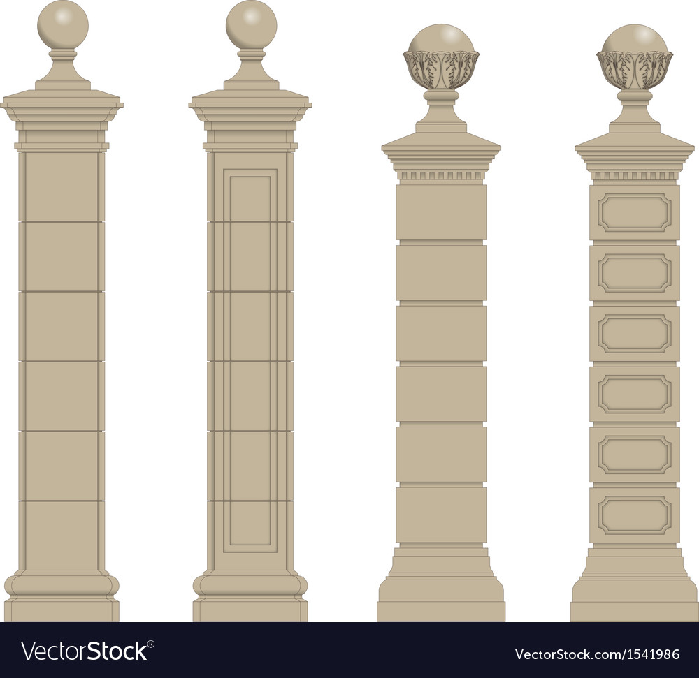 Set of column 3 vector | Price: 1 Credit (USD $1)