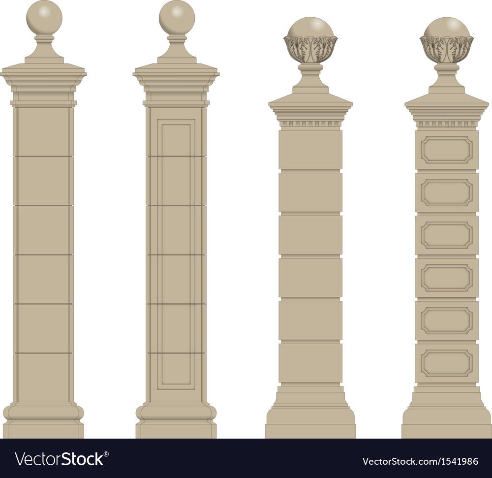 Set of column 3 vector | Price: 1 Credit (USD $1)