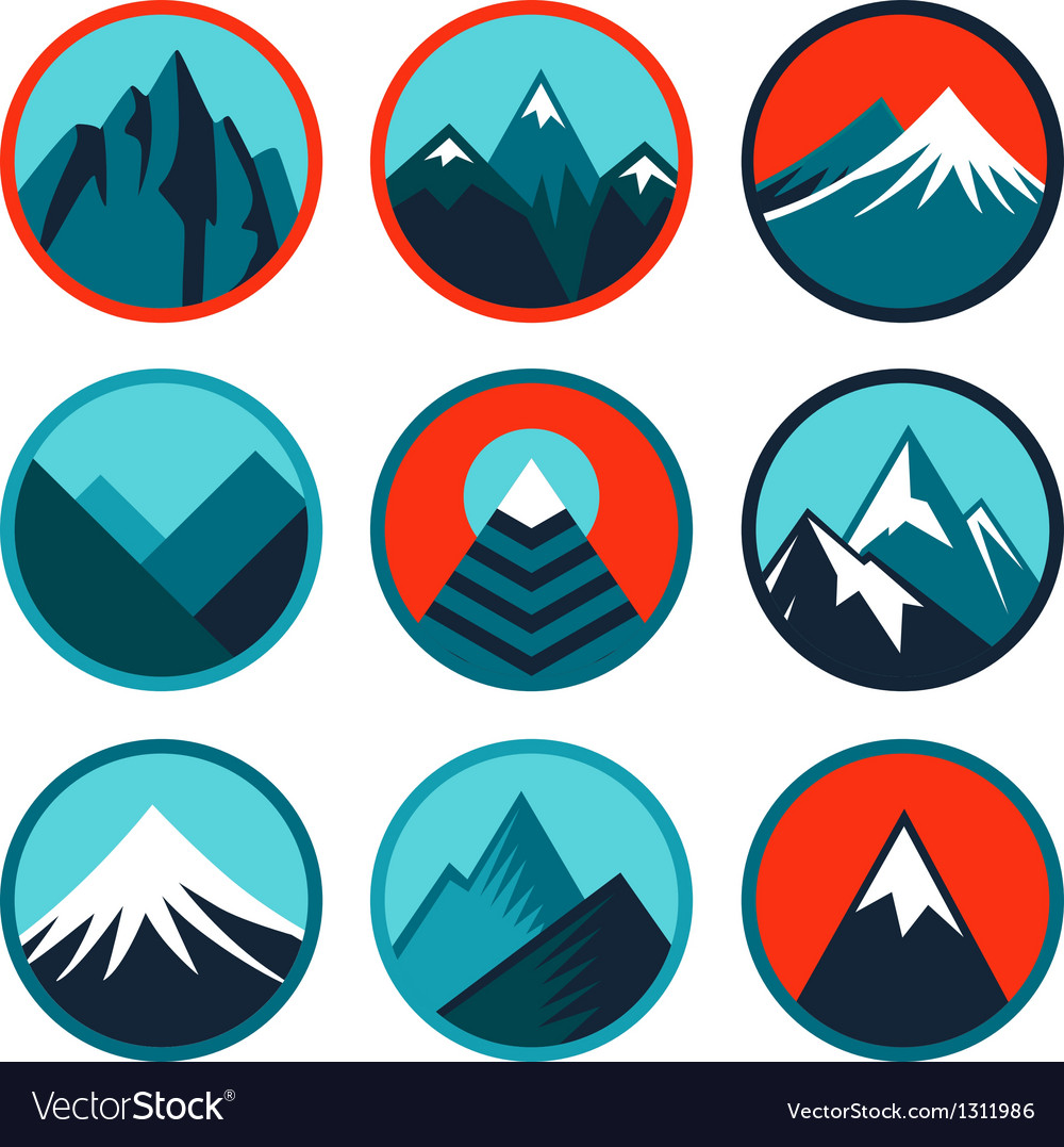 Set with abstract logos - mountains vector | Price: 1 Credit (USD $1)