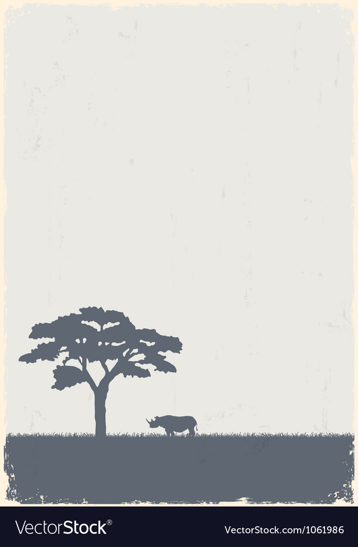 Silhouette of tree and rhino vector | Price: 1 Credit (USD $1)