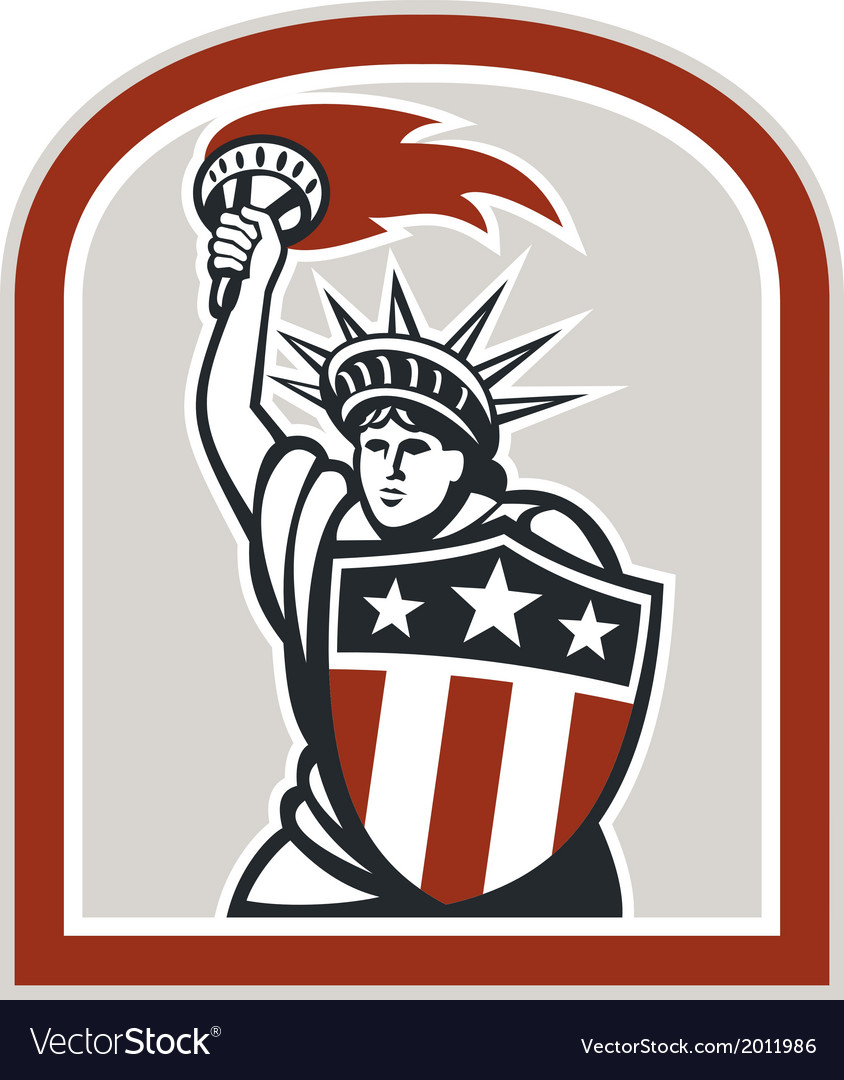 Statue of liberty holding flaming torch shield vector | Price: 1 Credit (USD $1)