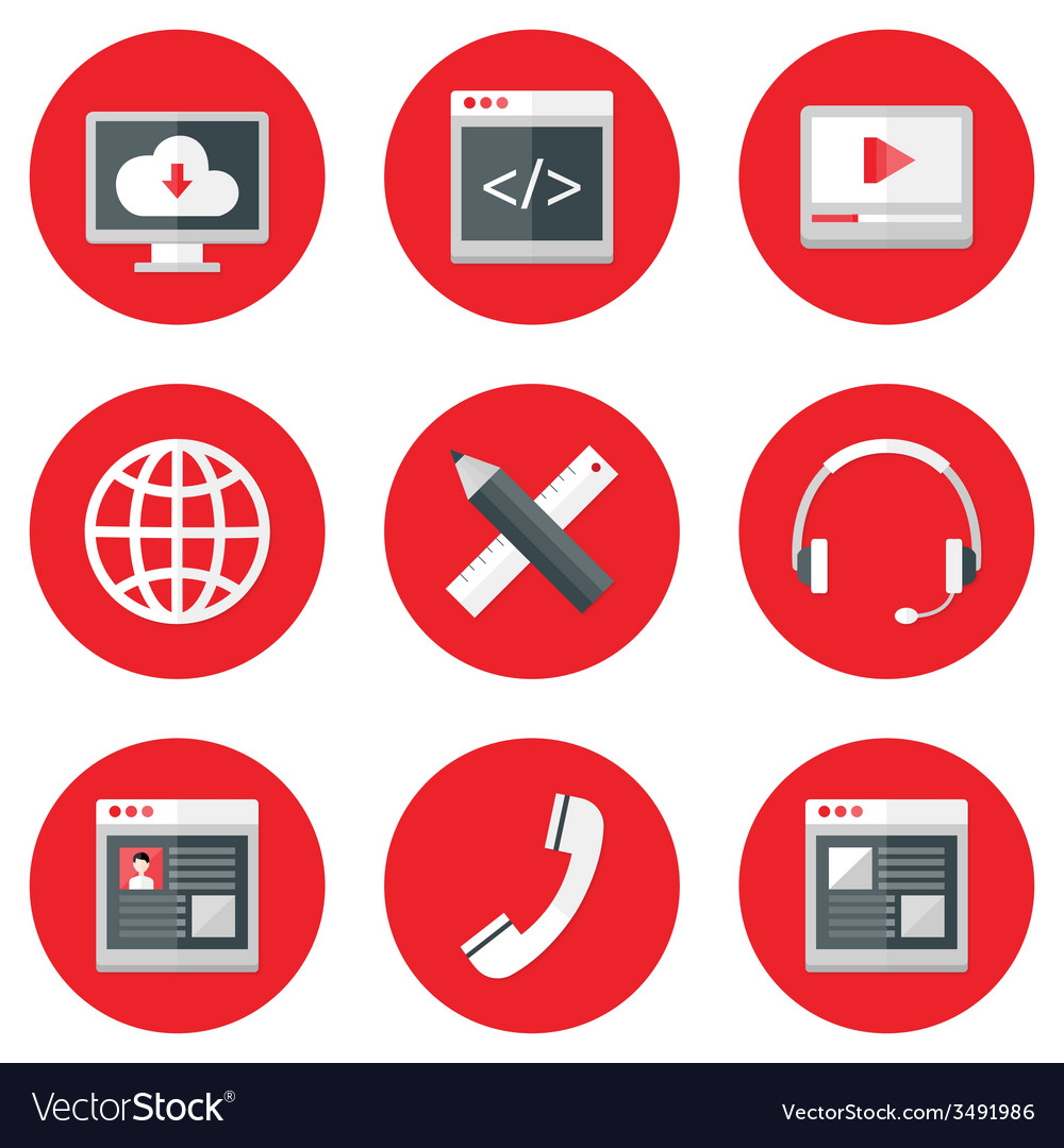 Website icons set over red vector | Price: 1 Credit (USD $1)
