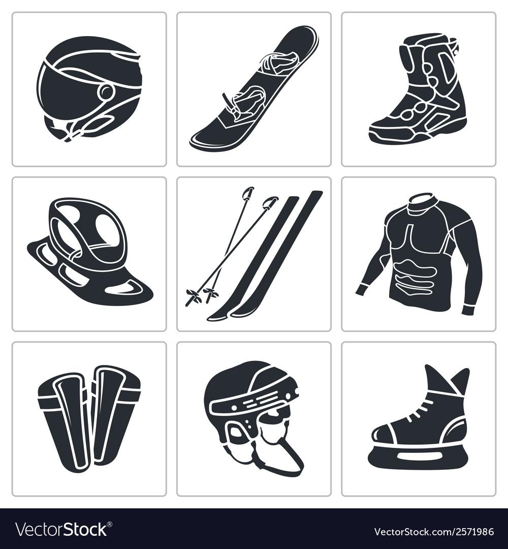 Winter sports icon set vector | Price: 1 Credit (USD $1)
