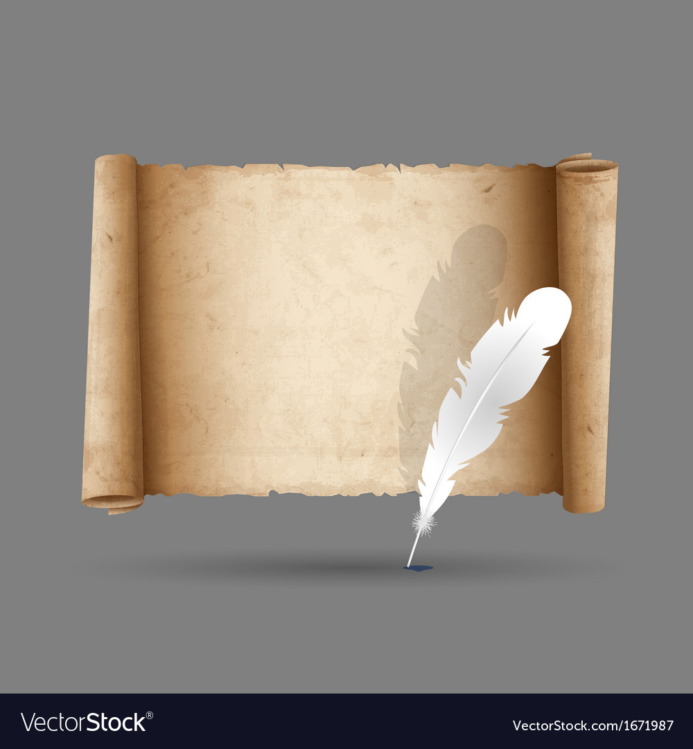 Ancient scroll paper with feather vector | Price: 1 Credit (USD $1)