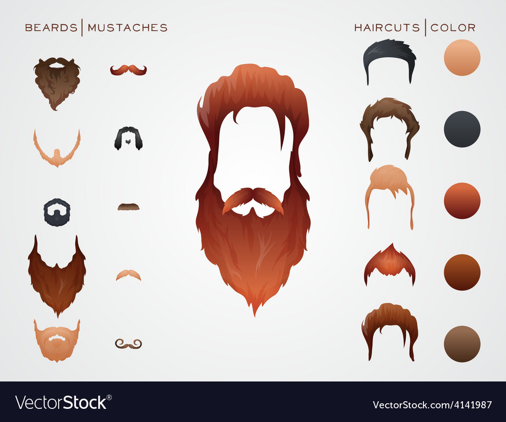 Beards and mustaches hairstyles constructor vector | Price: 1 Credit (USD $1)