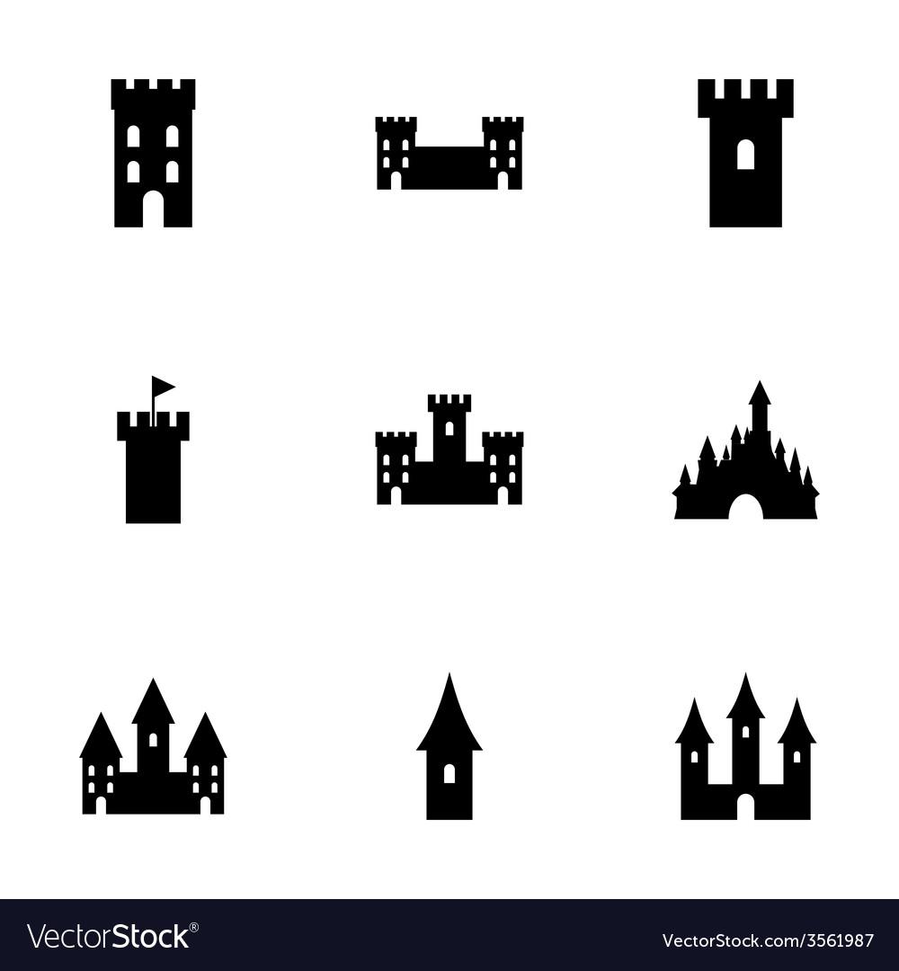 Castle icon set vector | Price: 1 Credit (USD $1)