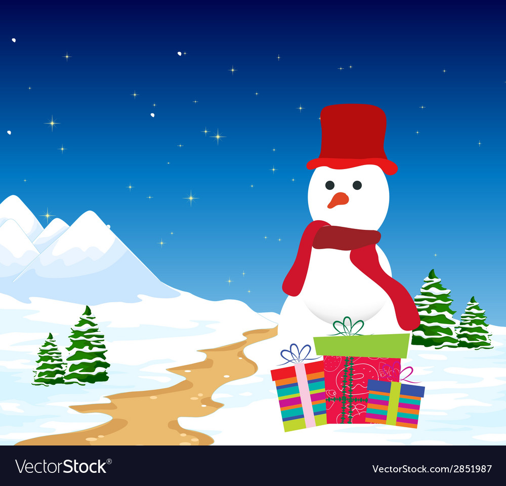 Christmas background with snowman and gift vector | Price: 1 Credit (USD $1)