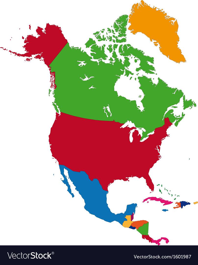Colorful north america map vector | Price: 1 Credit (USD $1)