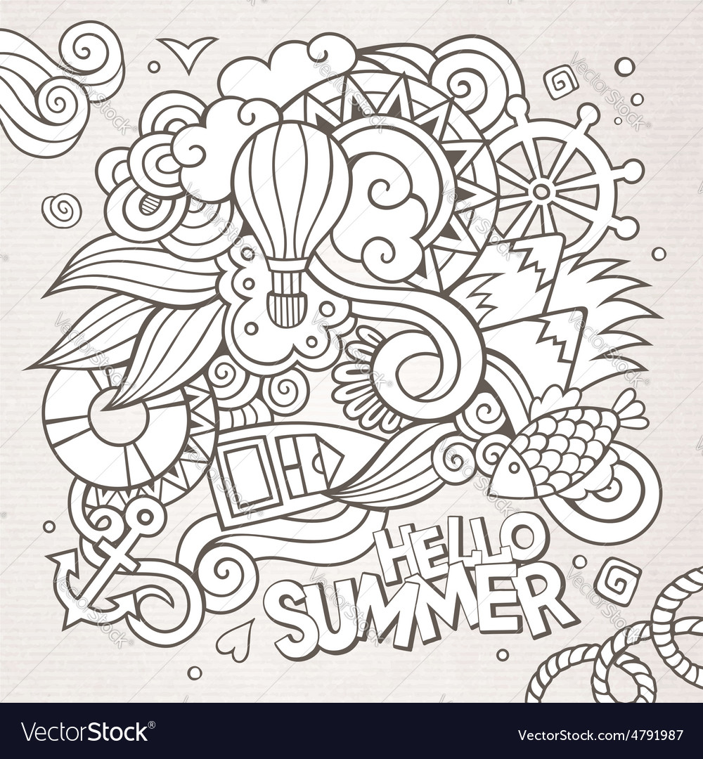Doodles abstract decorative summer sketch vector | Price: 1 Credit (USD $1)