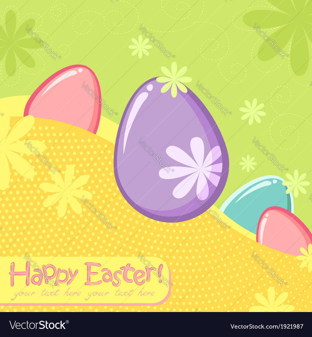 Easter greeting decorative postcard vector | Price: 1 Credit (USD $1)