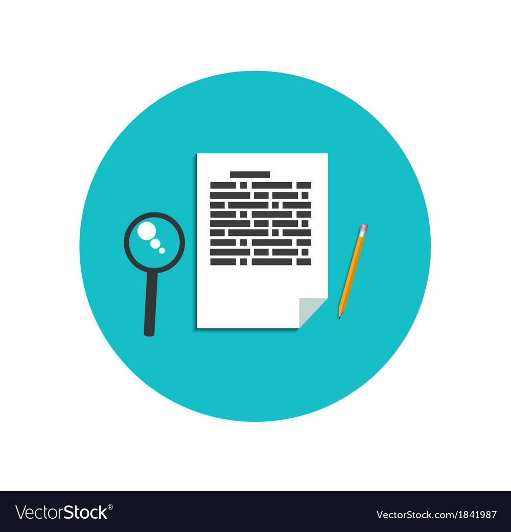 Flat magnifying glass with page and pencil vector | Price: 1 Credit (USD $1)