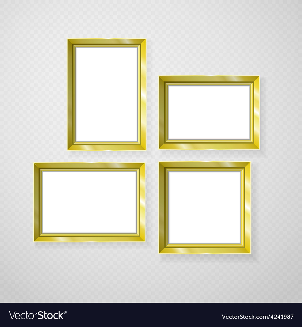Hanging paper sign frame gold picture shadow vector | Price: 1 Credit (USD $1)