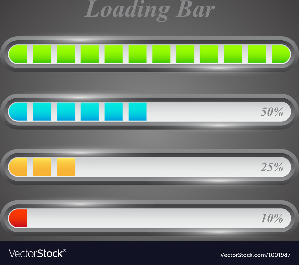 Modern color loading bars set vector | Price: 1 Credit (USD $1)