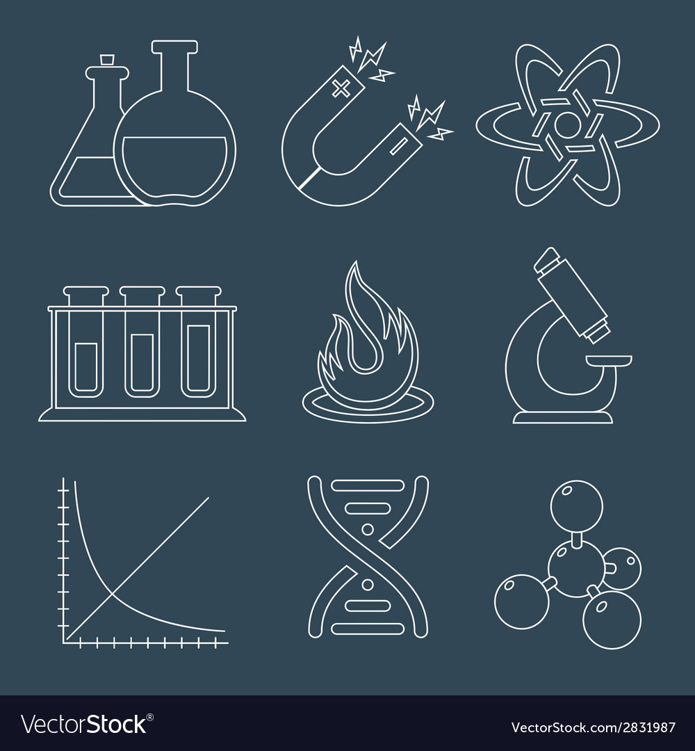Physics science icons flat vector | Price: 1 Credit (USD $1)