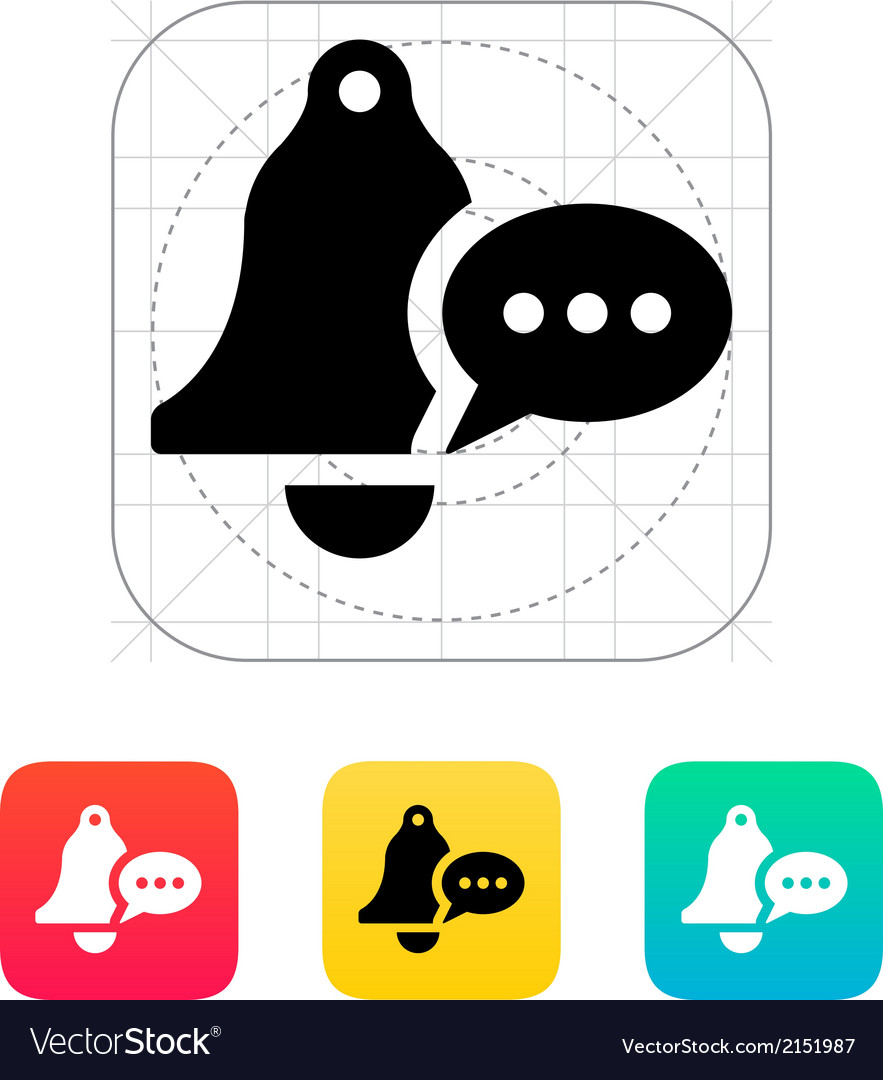 Ringing bell with message icon vector | Price: 1 Credit (USD $1)