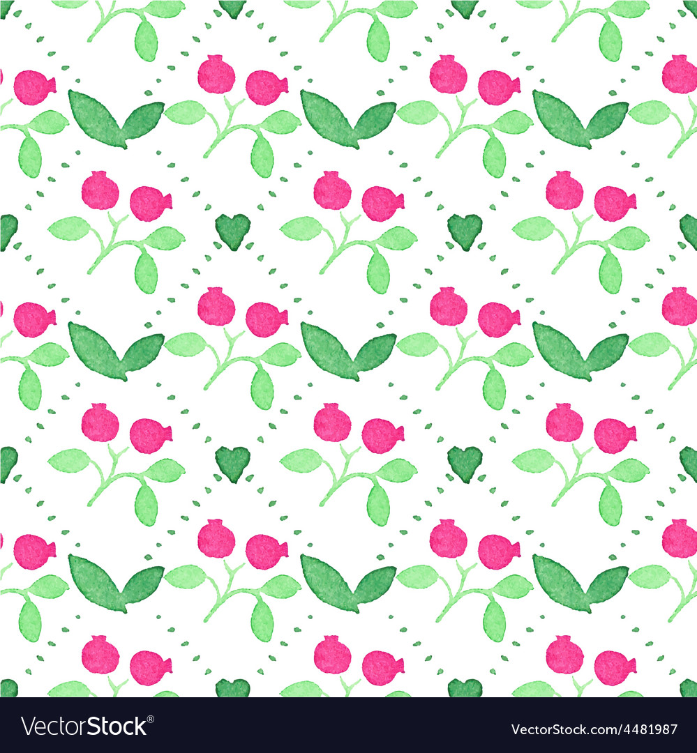 Seamless watercolor pattern with cranberries on vector | Price: 1 Credit (USD $1)