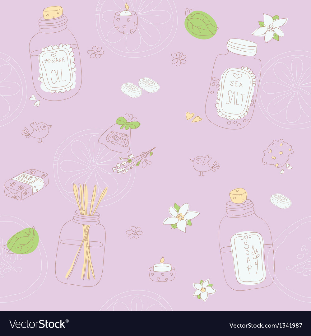 Sweet seamless pattern with sketchy spa stuff vector | Price: 1 Credit (USD $1)