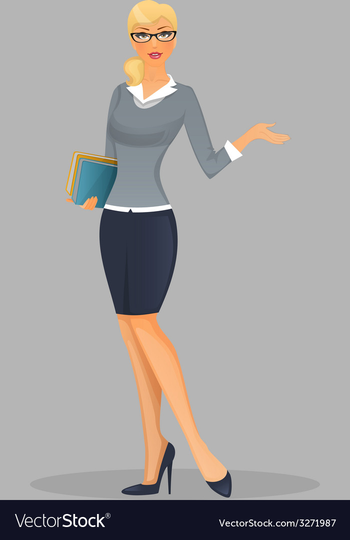 Teacher woman with books vector   Price: 1 Credit (USD $1)