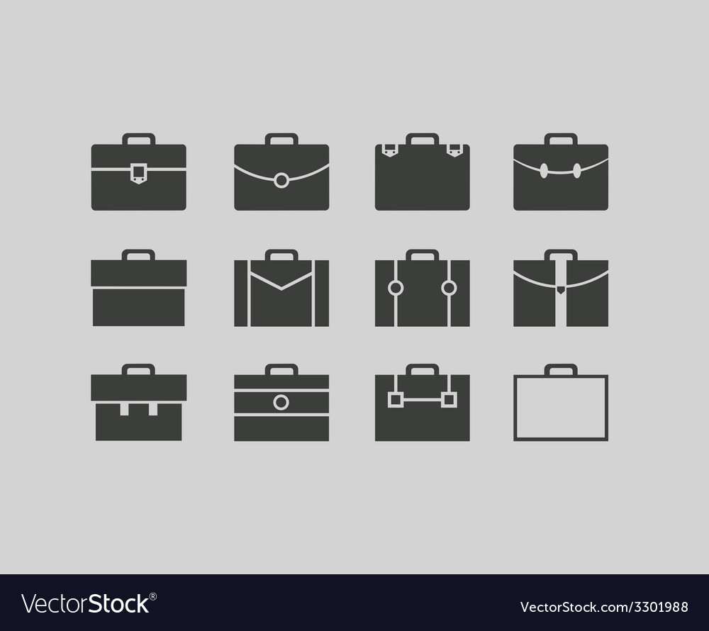 Black briefcase icons set background vector | Price: 1 Credit (USD $1)