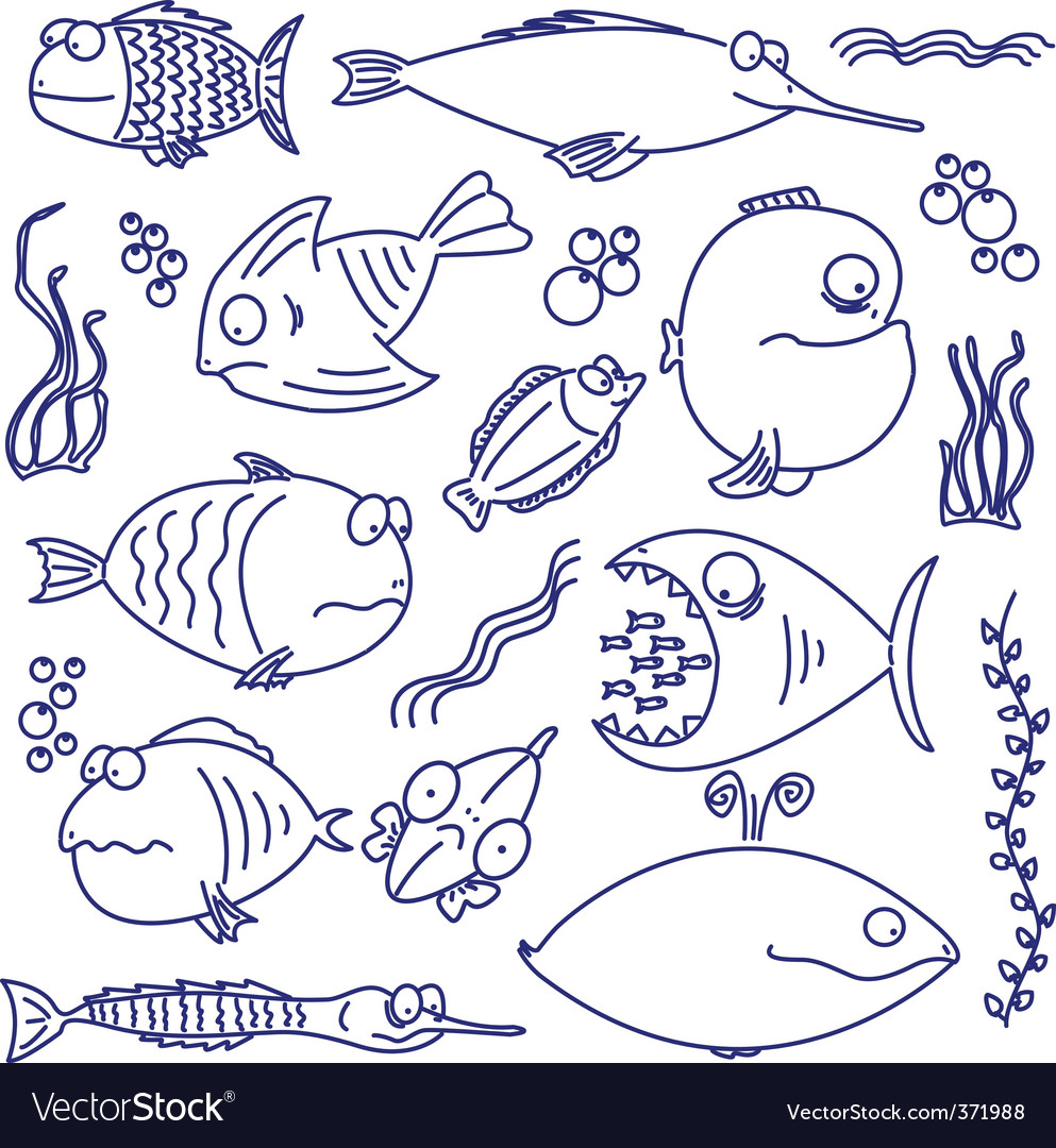 Cartoon comic fish vector | Price: 1 Credit (USD $1)