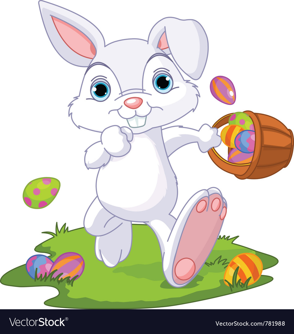 Easter bunny hiding eggs vector | Price: 3 Credit (USD $3)