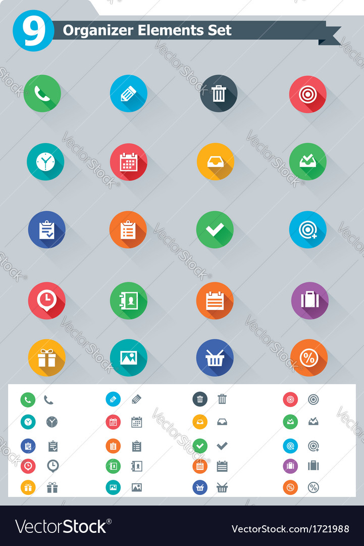 Flat organizer elements icon set vector | Price: 1 Credit (USD $1)