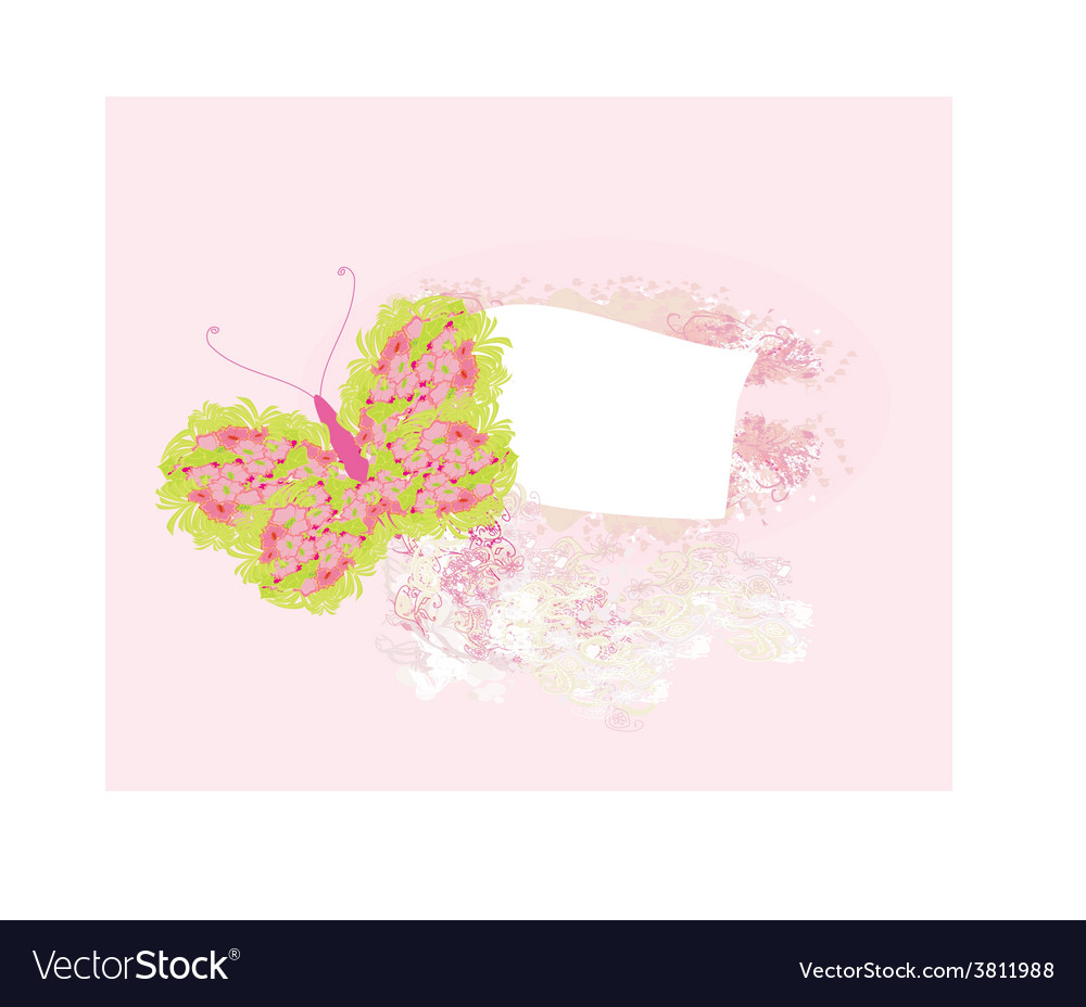 Floral frame with butterfly vector | Price: 1 Credit (USD $1)