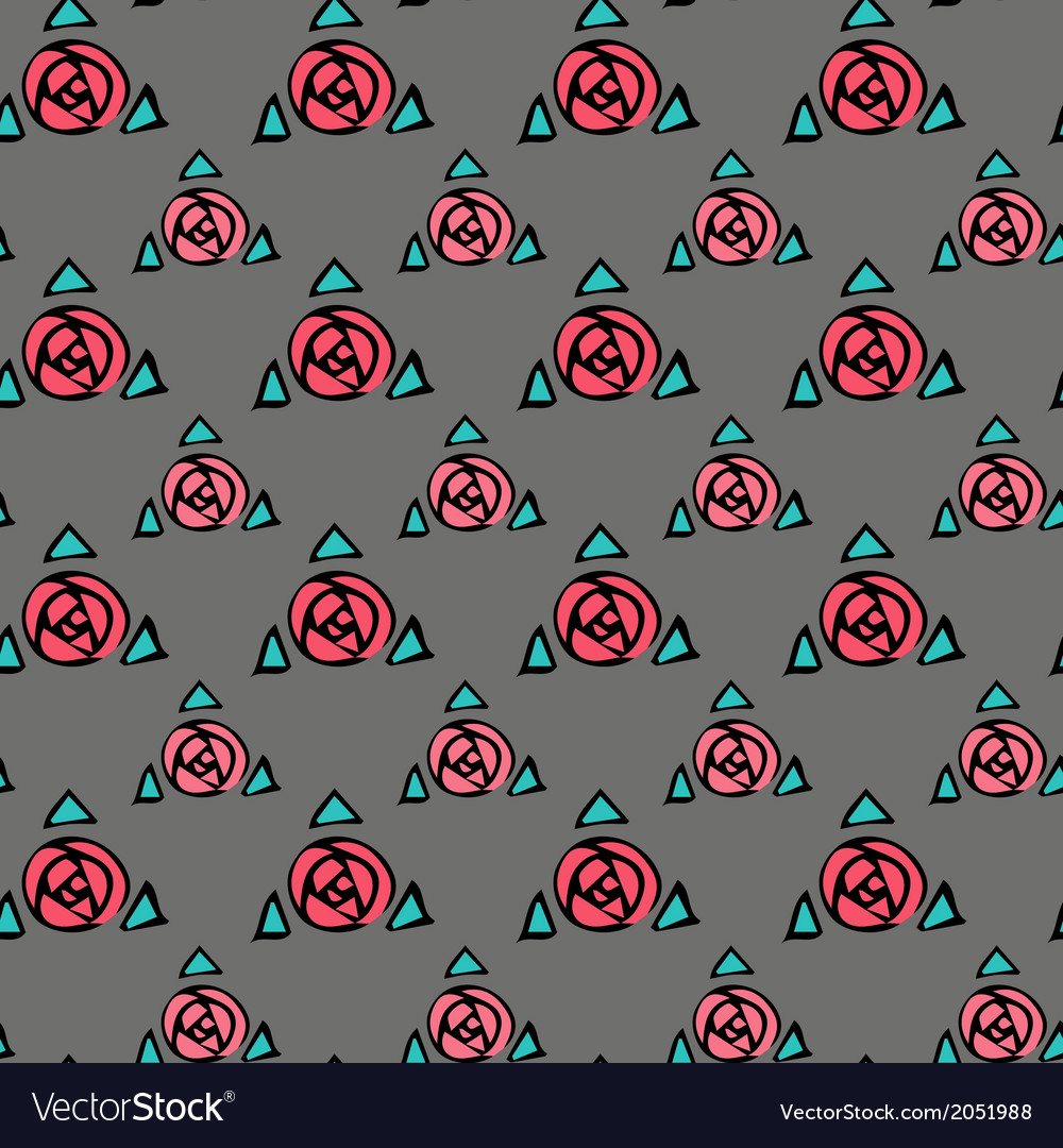 Grey seamless texture with pink roses vector | Price: 1 Credit (USD $1)