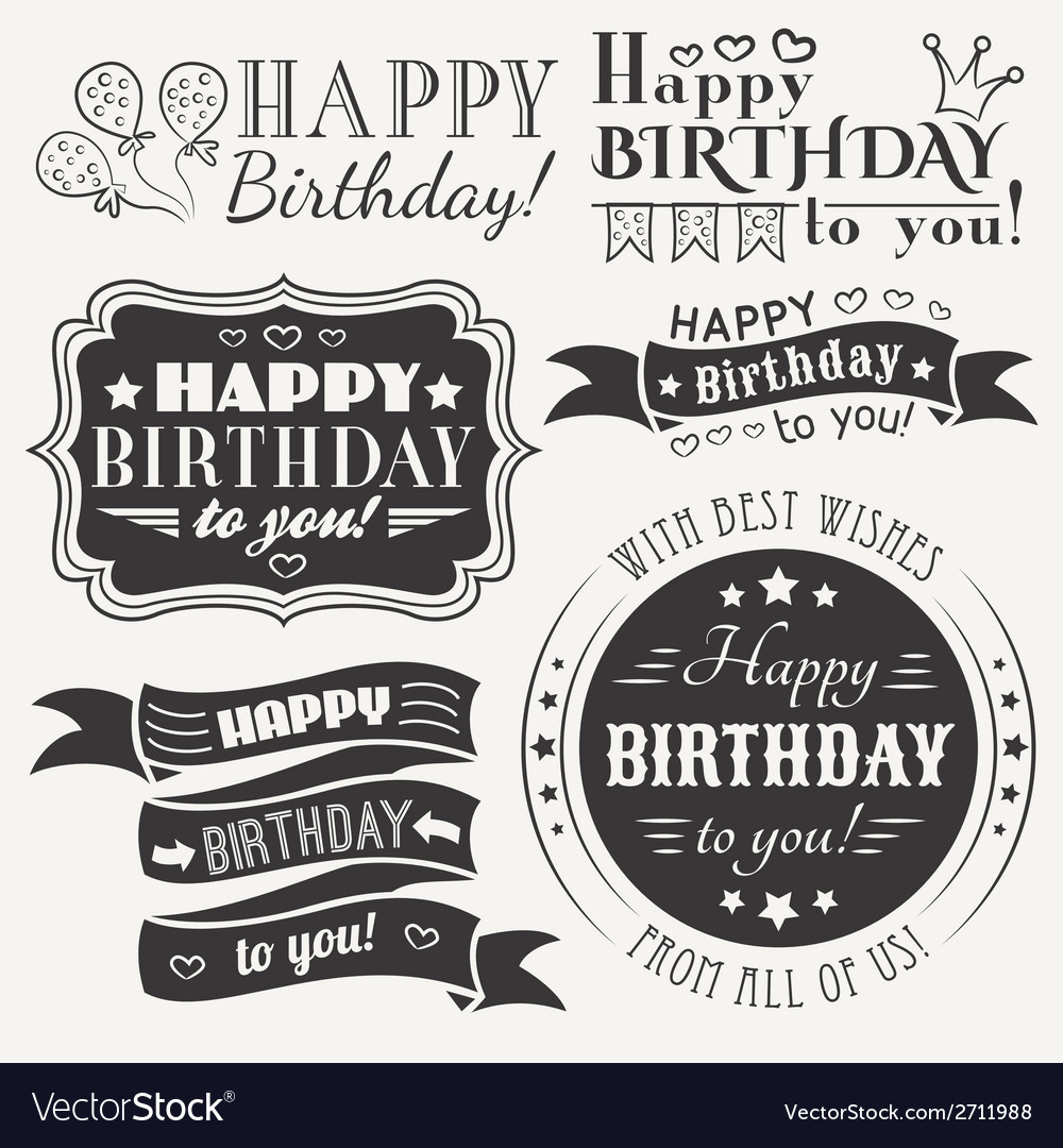 Happy birthday greeting card collection in holiday vector | Price: 1 Credit (USD $1)