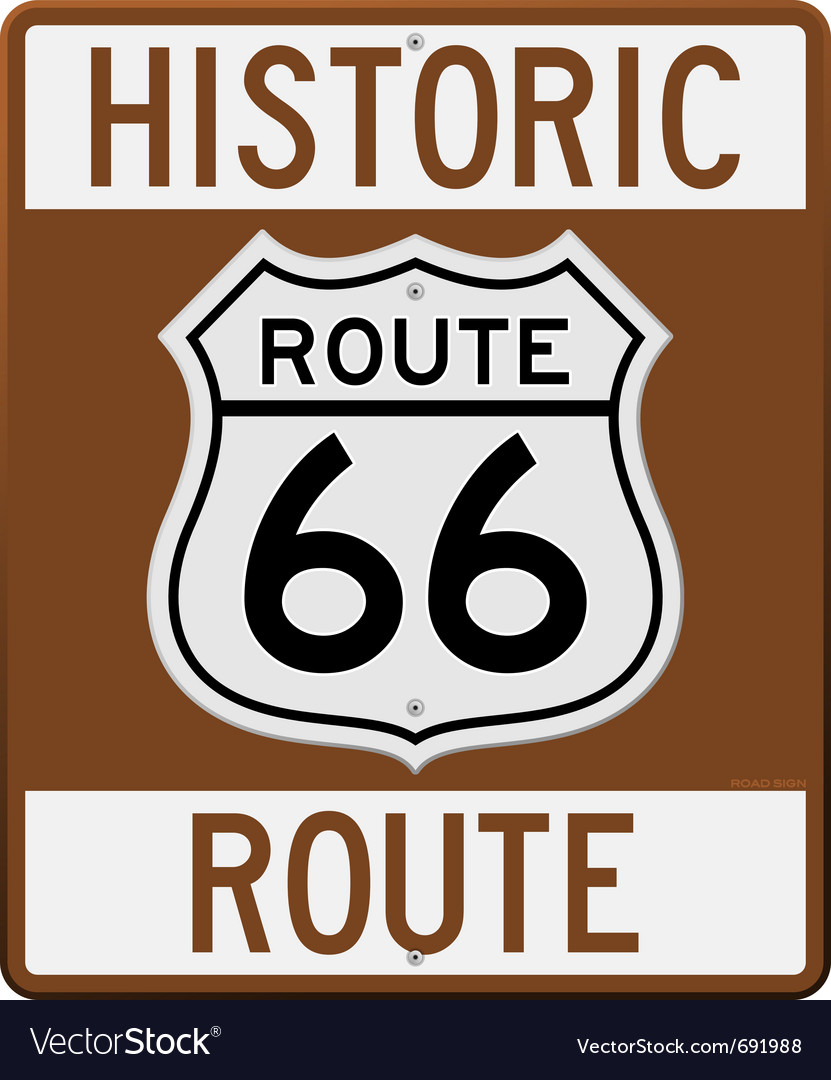 Historic route 66 sign vector | Price: 1 Credit (USD $1)