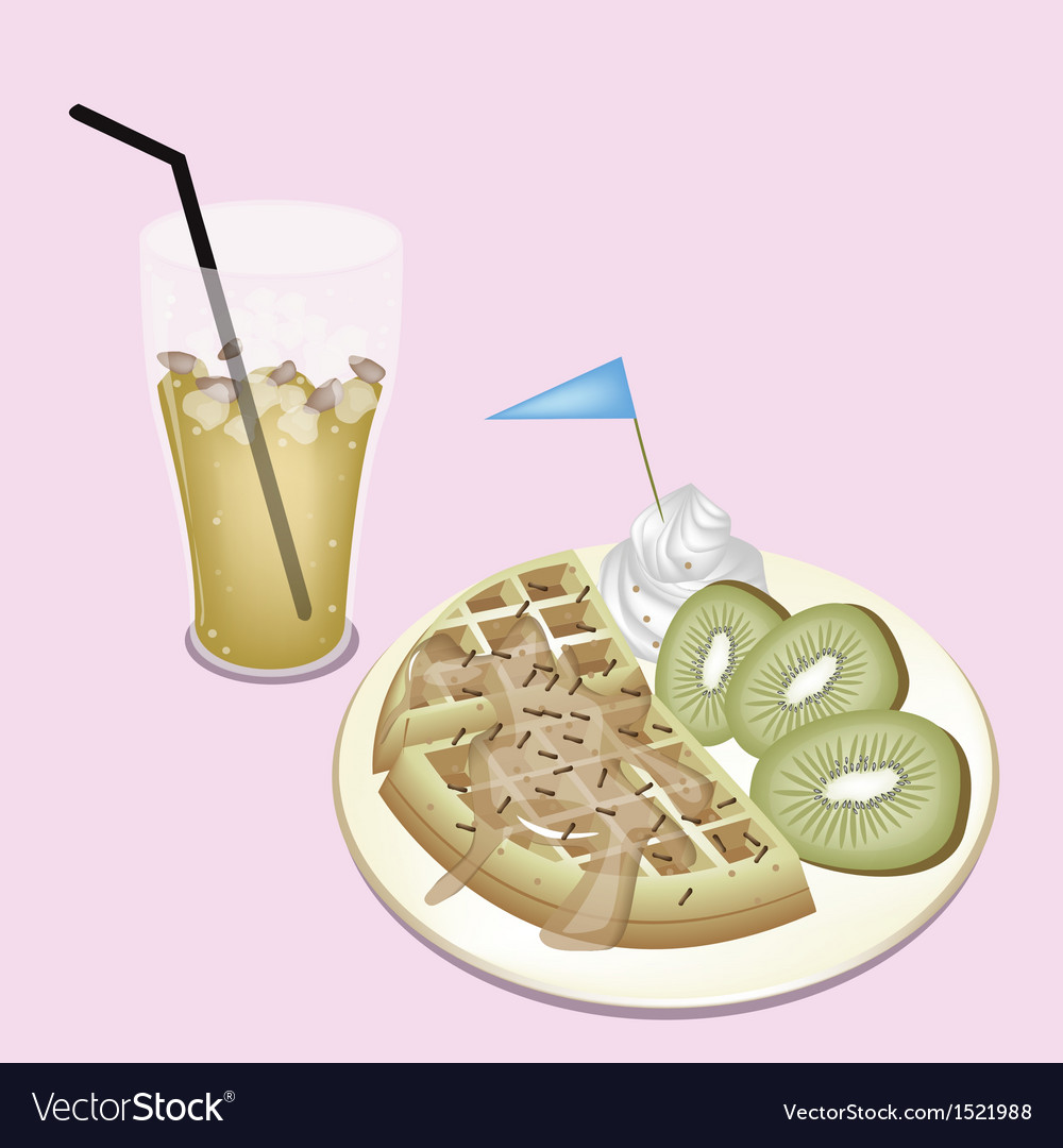 Lemon iced tea with tradition belgian waffle vector | Price: 1 Credit (USD $1)