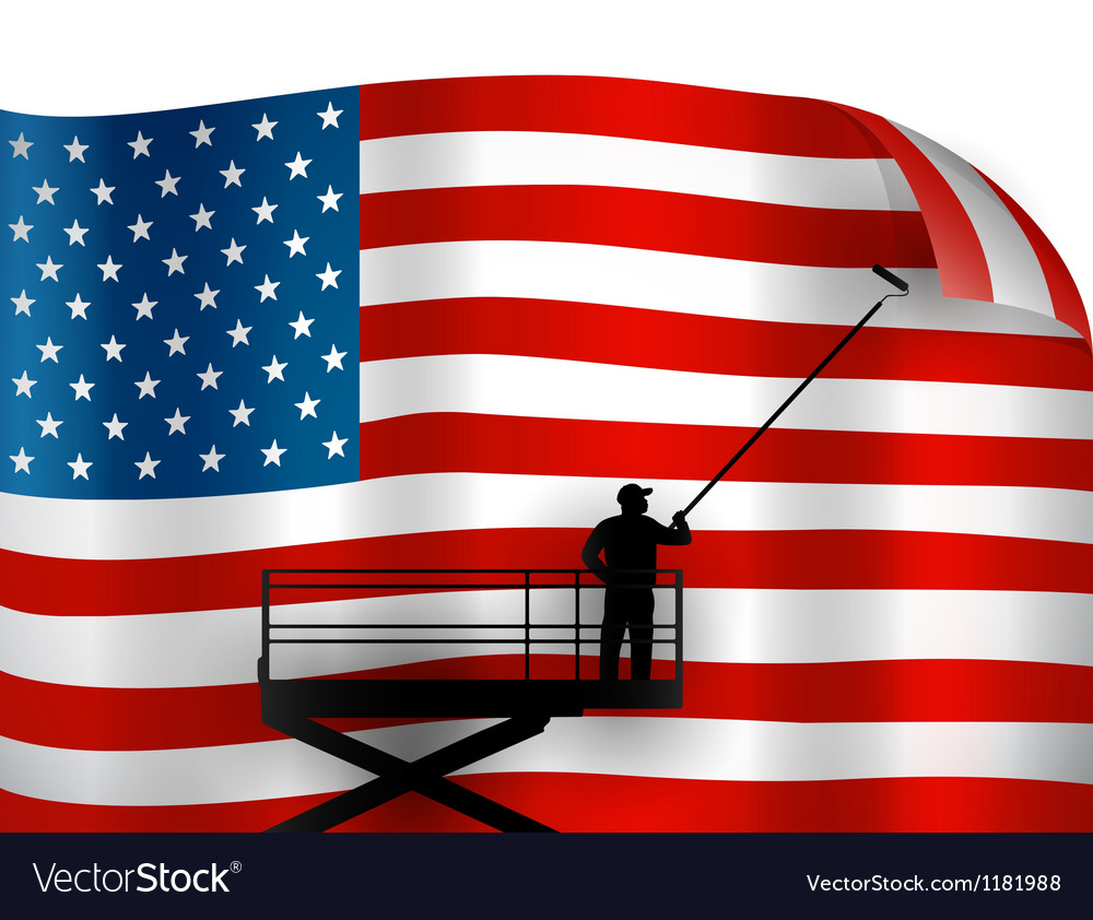 Putting up american flag vector | Price: 1 Credit (USD $1)