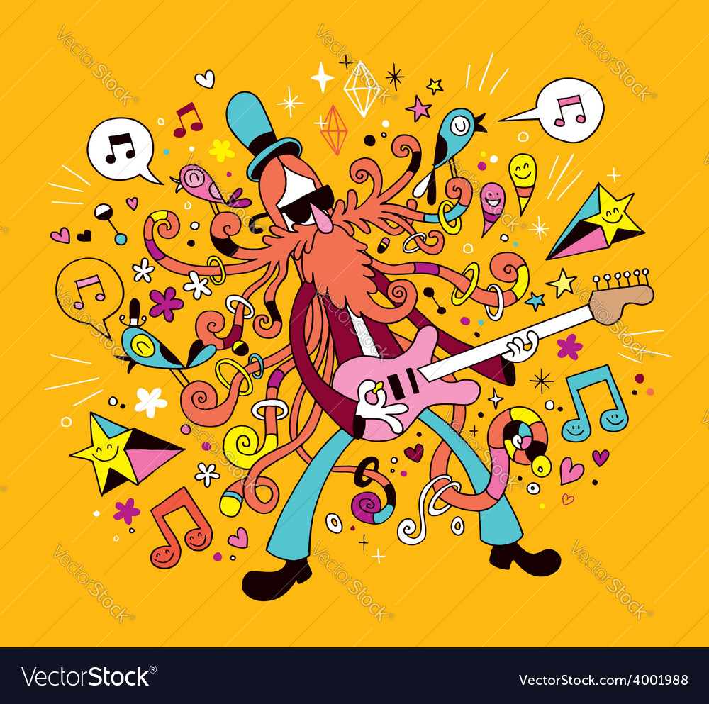 Rock guitarist cartoon vector | Price: 1 Credit (USD $1)