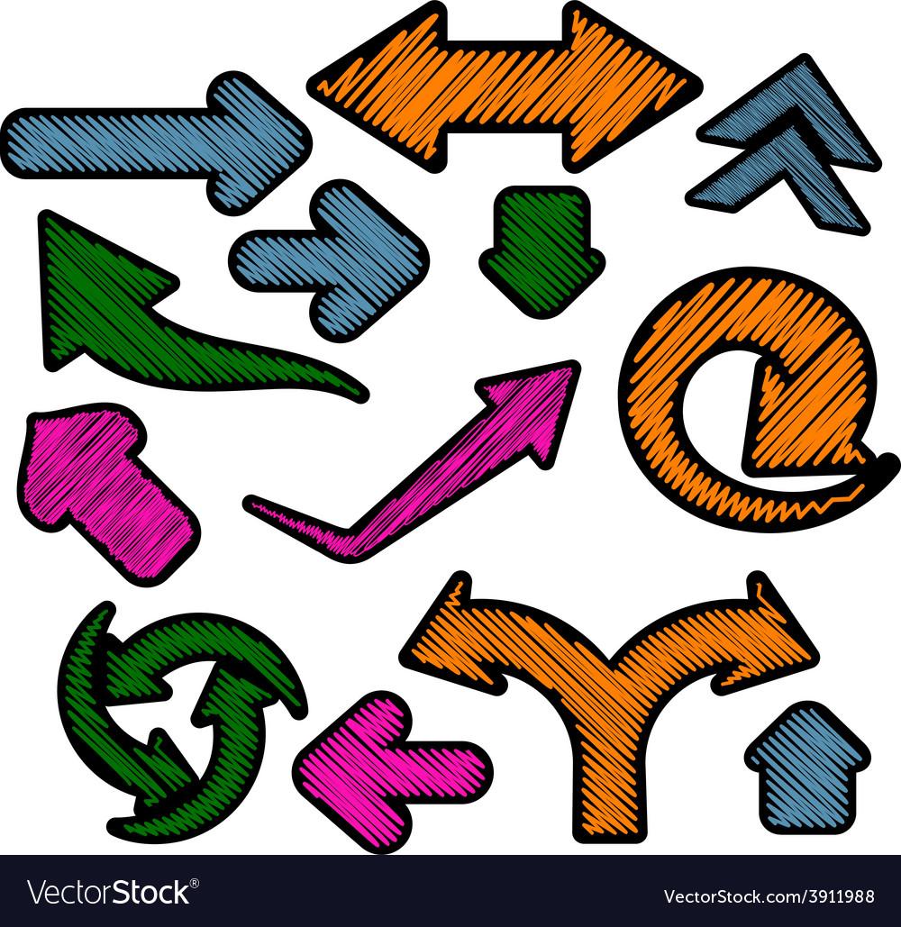 Scribbled color arrows set vector | Price: 1 Credit (USD $1)