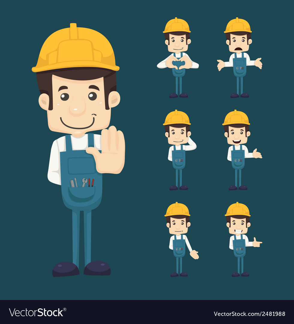 Set of engineer characters poses vector | Price: 1 Credit (USD $1)