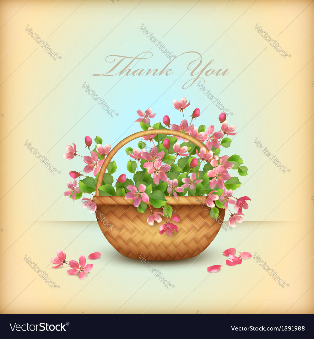 Spring wicker basket cherry flowers thank you card vector | Price: 1 Credit (USD $1)