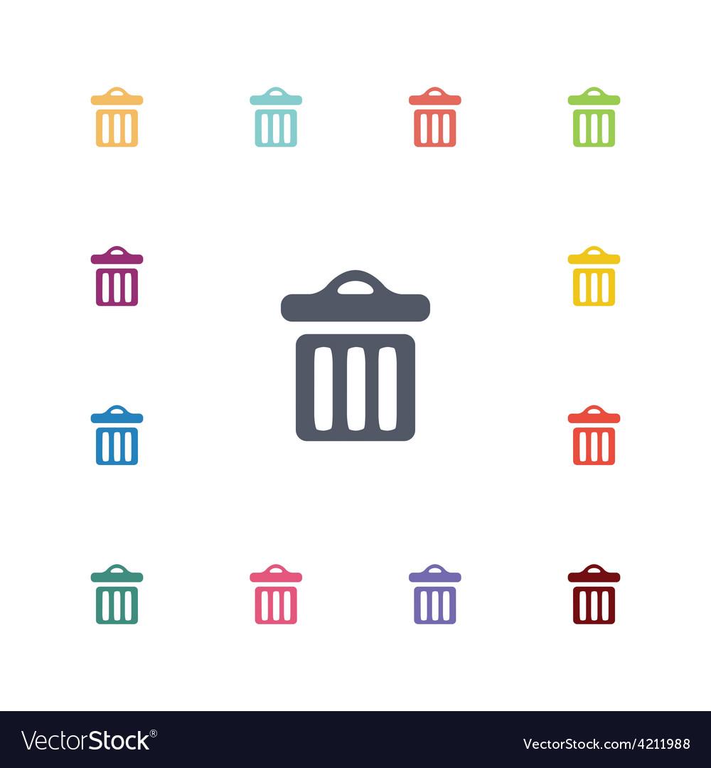 Trash bin flat icons set vector