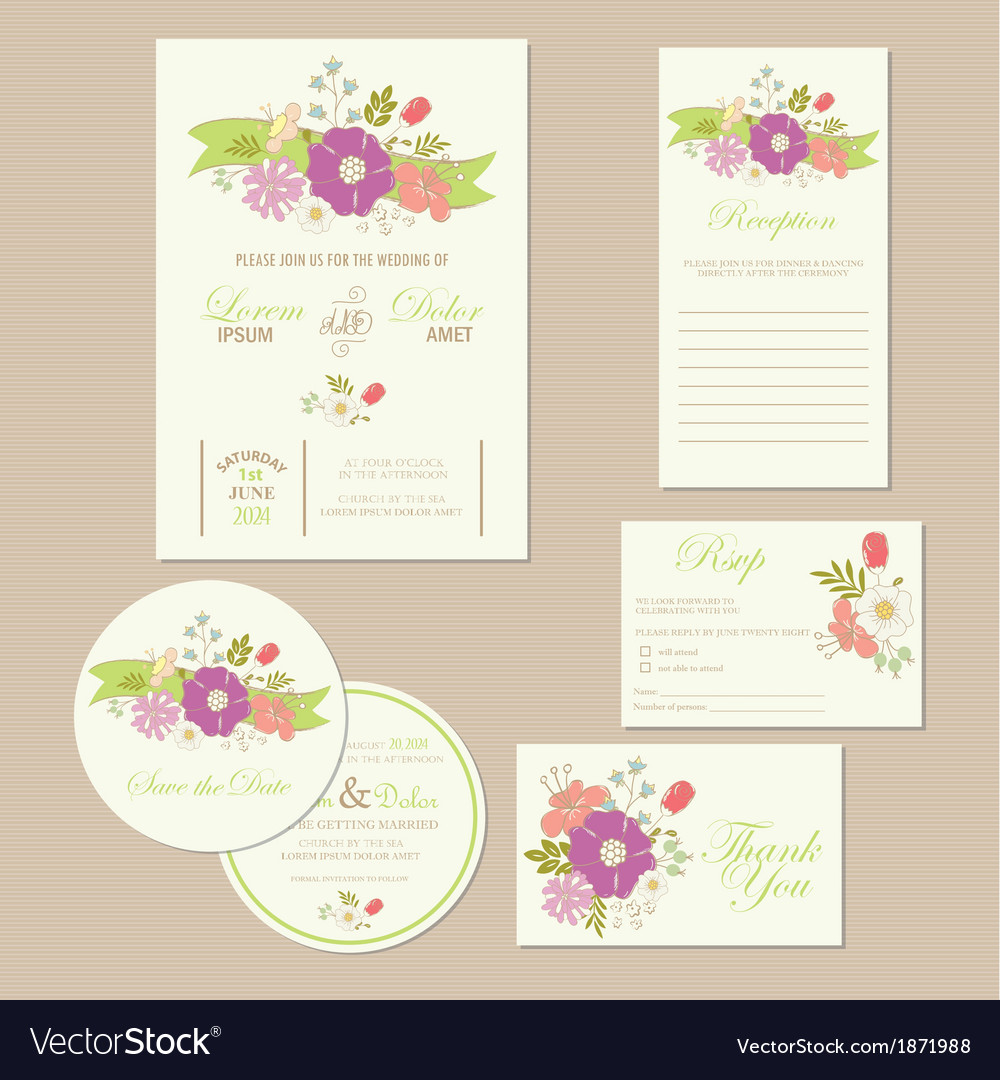 Wedding set with ribbon vector | Price: 1 Credit (USD $1)