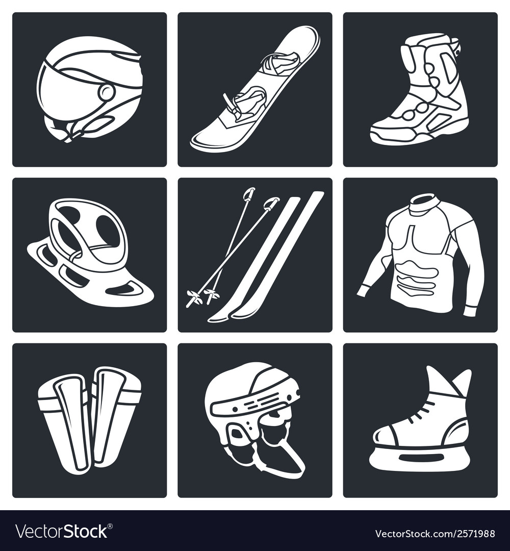 Winter sports icon collection vector | Price: 1 Credit (USD $1)