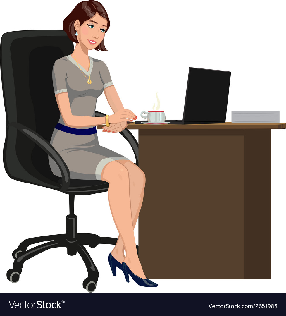 Woman behind a desk with a laptop vector | Price: 1 Credit (USD $1)