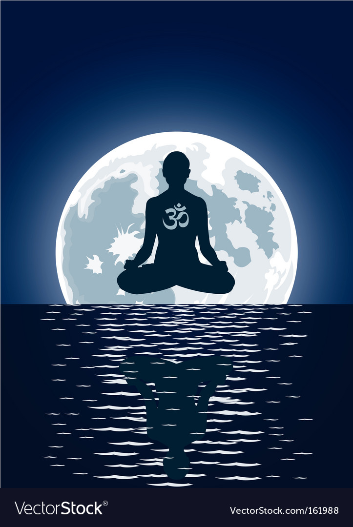 Yoga over moon background vector | Price: 1 Credit (USD $1)