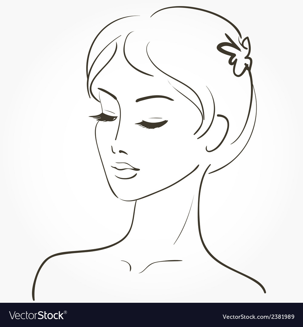 Beautiful young woman sketch vector | Price: 1 Credit (USD $1)