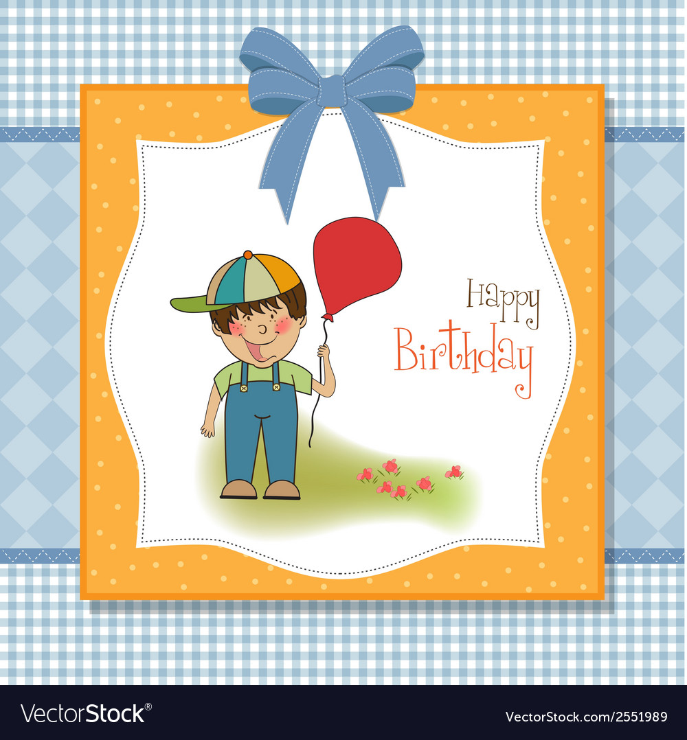 Birthday greeting card with little boy vector | Price: 1 Credit (USD $1)