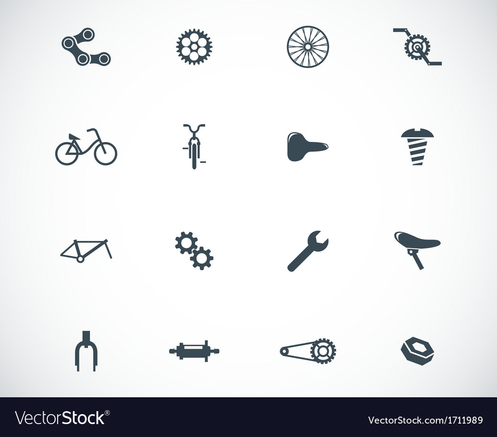 Black bicycle part icons set vector | Price: 1 Credit (USD $1)
