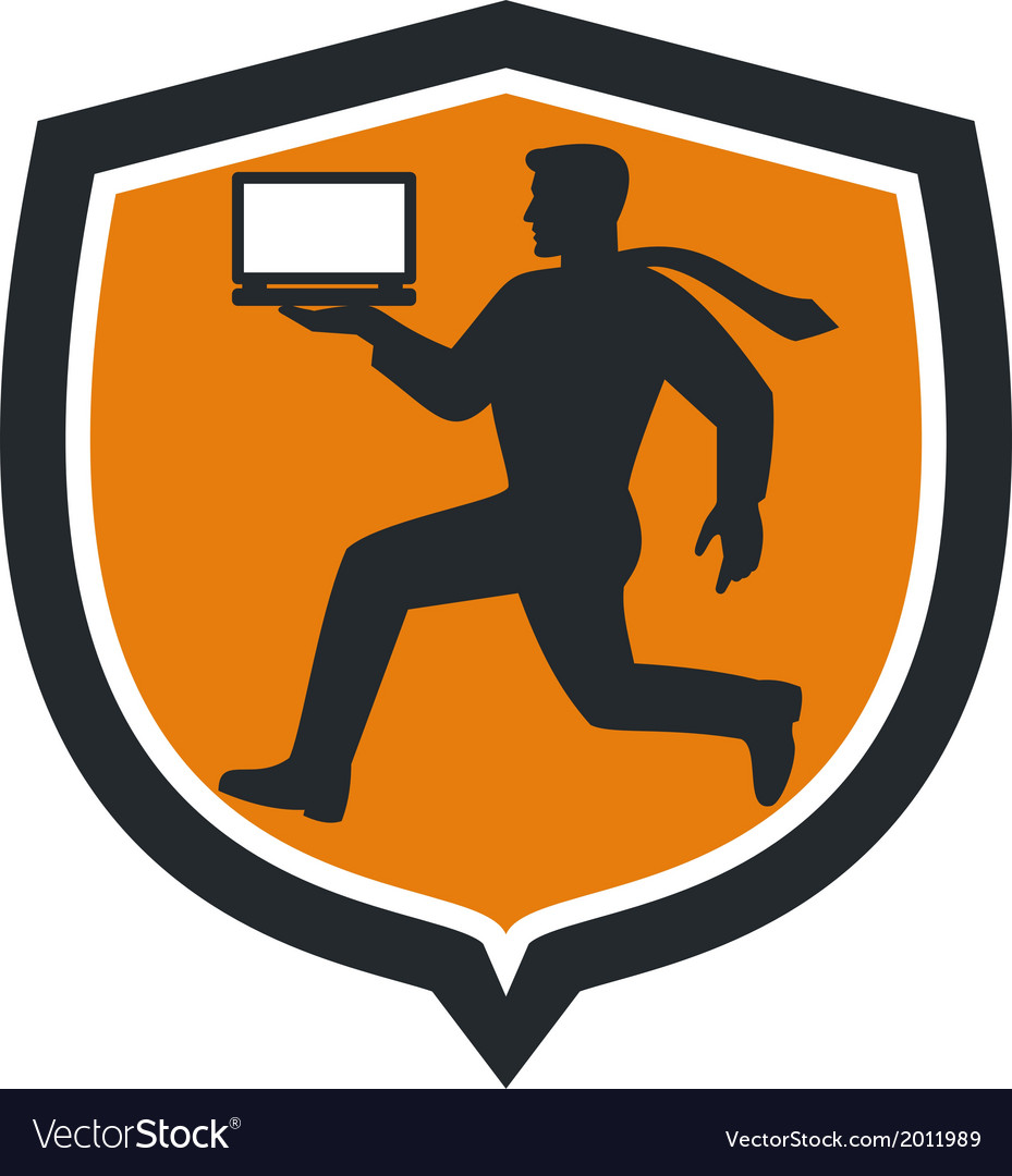 Computer technician carrying laptop running shield vector | Price: 1 Credit (USD $1)