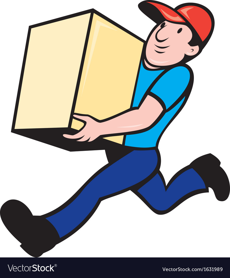 Delivery person worker running delivering box vector | Price: 1 Credit (USD $1)