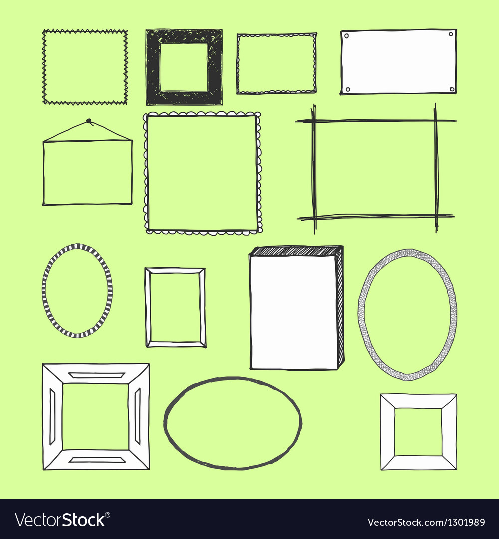 Hand drawn frames doodles isolated vector | Price: 1 Credit (USD $1)
