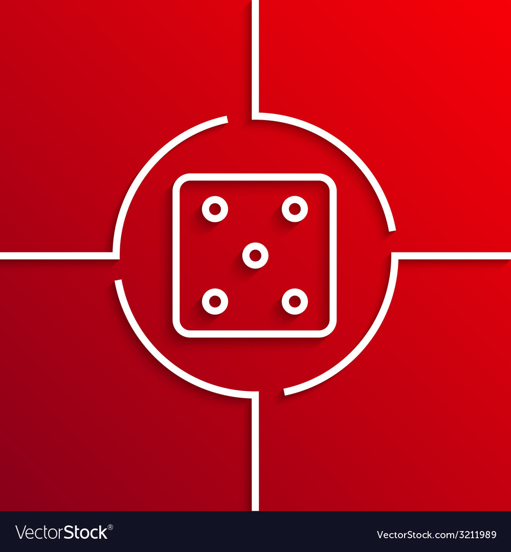 Modern white circle icon on red background vector | Price: 1 Credit (USD $1)