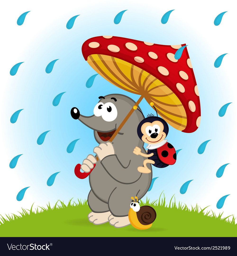Mole ladybug snail rain vector | Price: 1 Credit (USD $1)